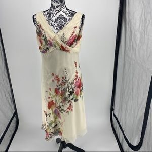 Adrianna Papell silk floral beaded v-neck dress